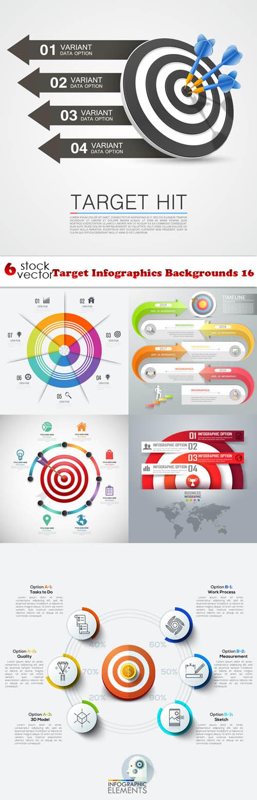 Vectors - Target Infographics Backgrounds 16